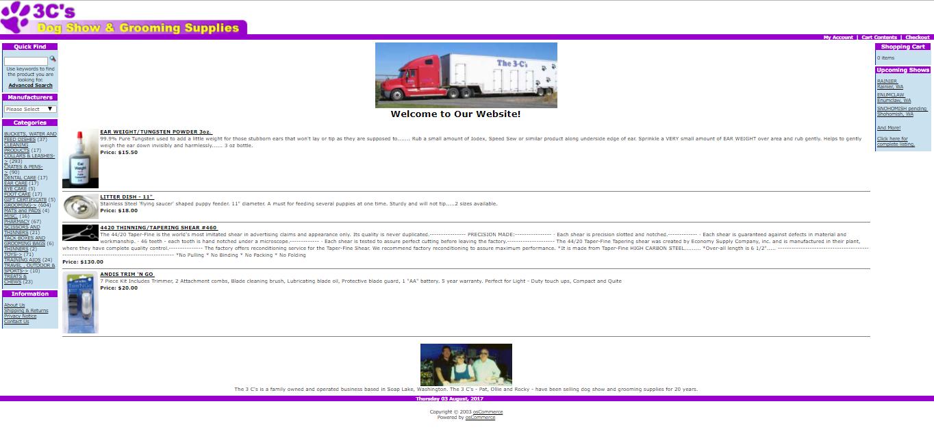 Old 3C's website screenshot